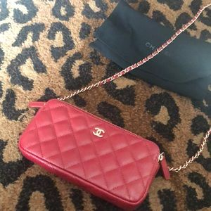 Double zip cavier leather Chanel wallet on chain